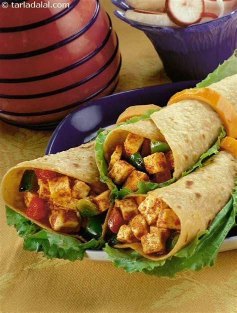 paneer kathi roll recipe vegetarian paneer tikka kathi rolls recipe jain recipes by tarla