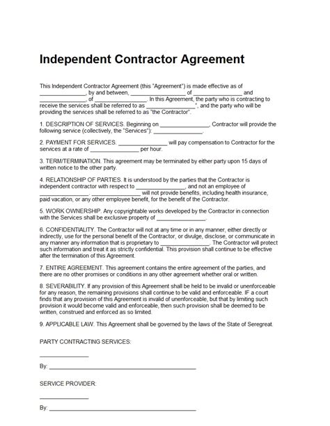 contractor template contract independent contractor agreement template sle