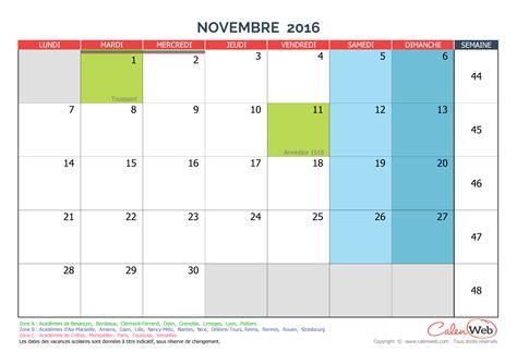 Calendrier Novembre 2016 Calendrier Mensuel Mois De Novembre 2016 Avec Jours