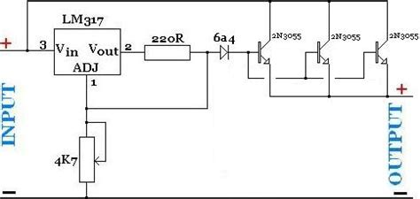 2n3055 transistor regulator creating a high current lm317 regulator