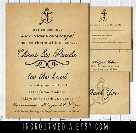Casual Wedding Invitations by Vintage Nautical Wedding Invitation Suite Antique