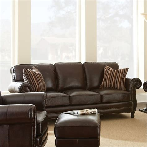 Steve Silver Company Chateau Leather Sofa In Antique Chateau Leather Sofa