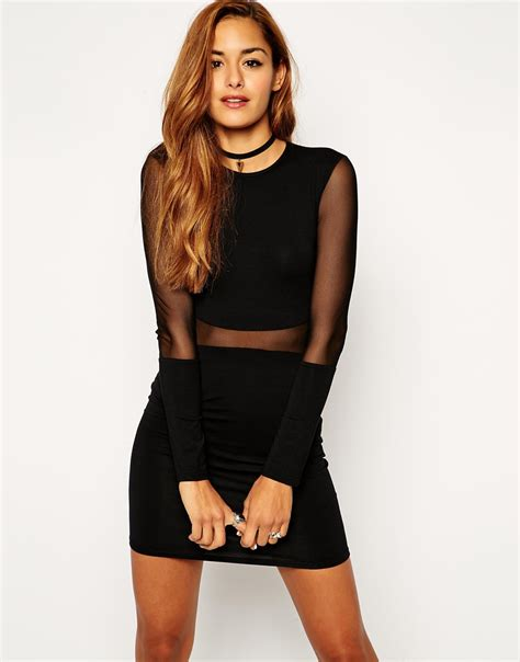 Mesh Panel Sleeve Dress asos mesh panel dress with sleeves in black lyst