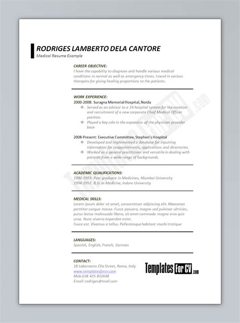 free healthcare resume templates template for cv printriver 169