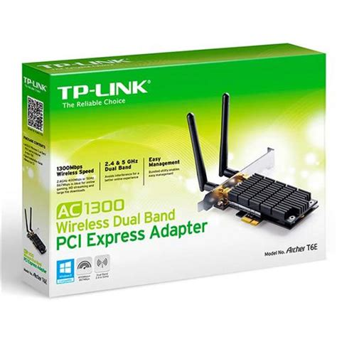 Tp Link Archer T6e Ac1300 Wireless Dual Band Pci Express Adapter adaptador tp link archer t6e ac1300 dual band wireless