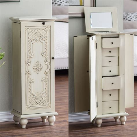 lockable jewelry armoire belham living locking ornate door jewelry armoire