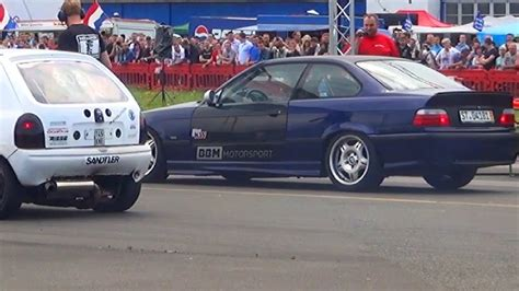 opel bmw bmw m3 e36 vs opel corsa b wins 1 4 mile drag race