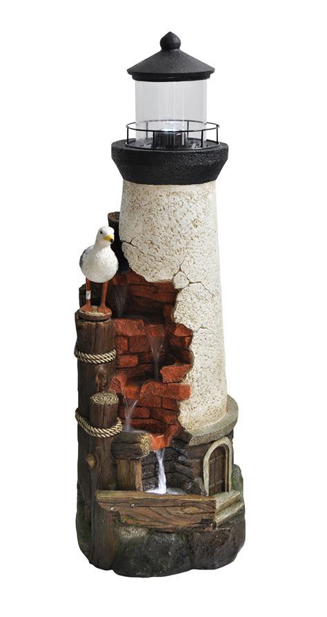 rustic lighthouse resin stone water feature  led
