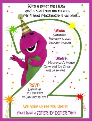 Invitations Cute Saying Madison Bday Party Pinterest Barney Birthday Birthdays And Friends Themed Invitation Template