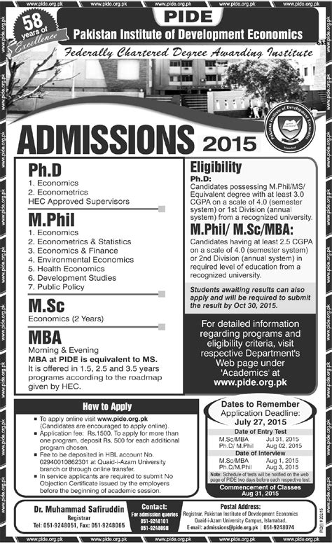 Hec Mba Equivalent To M Phil by Pide Islamabad Admission 2015 Mba Phd Msc M Phil
