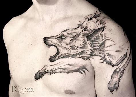 wolf tattoo on chest boulderinnr colorado tattoos wolf