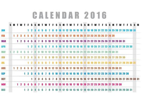 Horizontal Calendar Template 2016