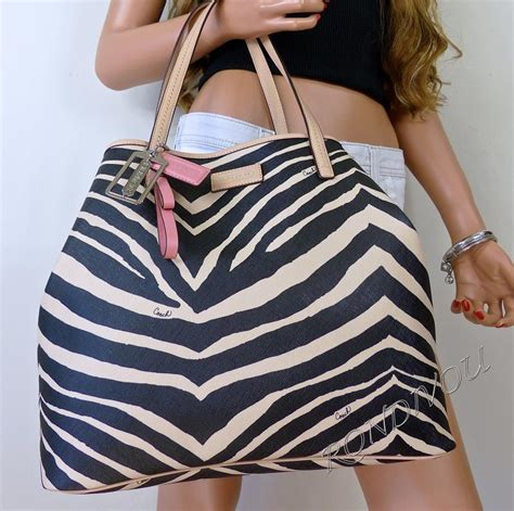 Coach Htons Large Signature Zebra Tote by Nwt Coach Large Black Signature Khaki Zebra Pink Shopper