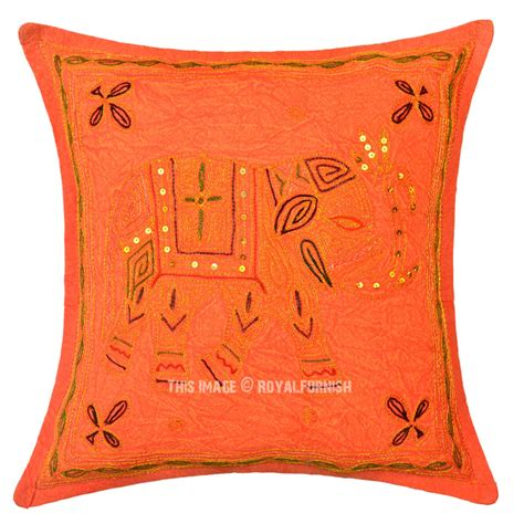 orange needlepoint embroidered elephant pillow cover