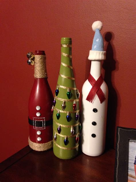 christmas wine bottle craft christmas diy pinterest