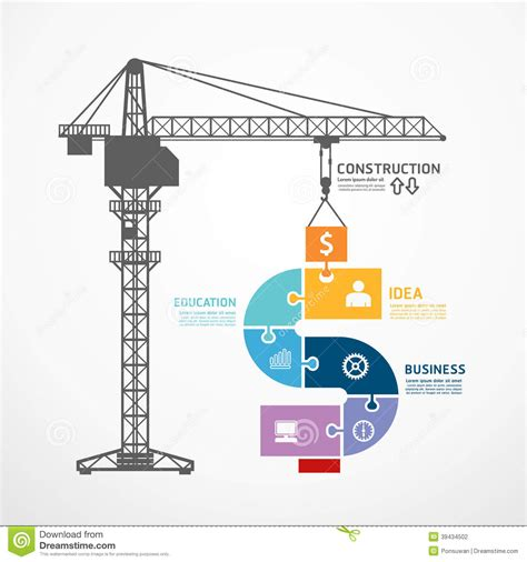 crane template infographic template with construction tower crane jigsaw