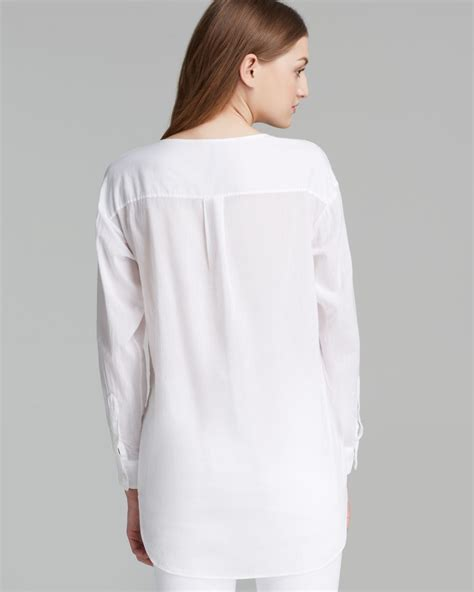 White Shirt Lyst by Theory Shirt Pintuck Lawn In White Lyst