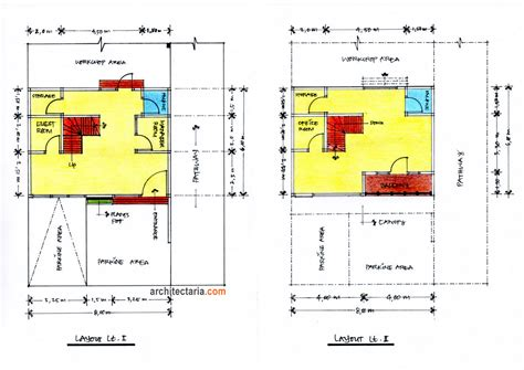 layout rumah kantor desain rukan ukuran 8 m x 6 m pt architectaria media cipta