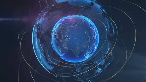 Spiner Hologram planet earth with hologram no sound stock footage 7541422