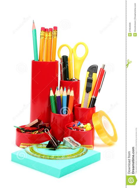 colorful office supplies colorful office school supplies royalty free stock image
