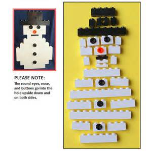 build it kit lego flat snowman christmas ornament