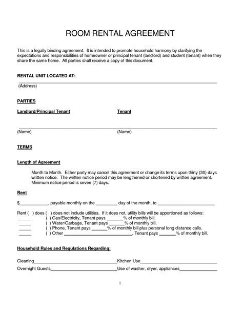 room rental template 10 best images of basic room rental agreement form