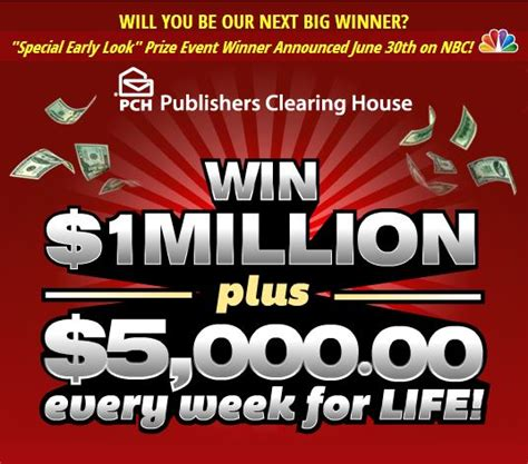 Nbc Pch Winner Announcement - win 1 million 5k every week for life clever housewife