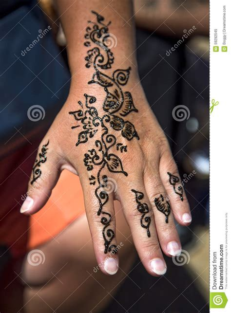 henna tattoo on the hand stock illustration image of