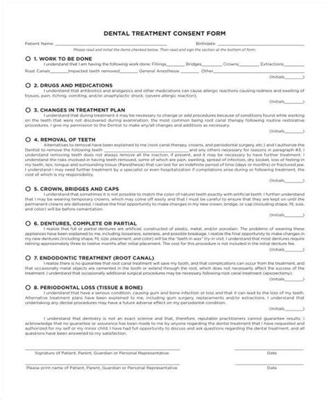 7 Dental Consent Form Sles Free Sle Exle Format Download Dental Treatment Consent Form Template