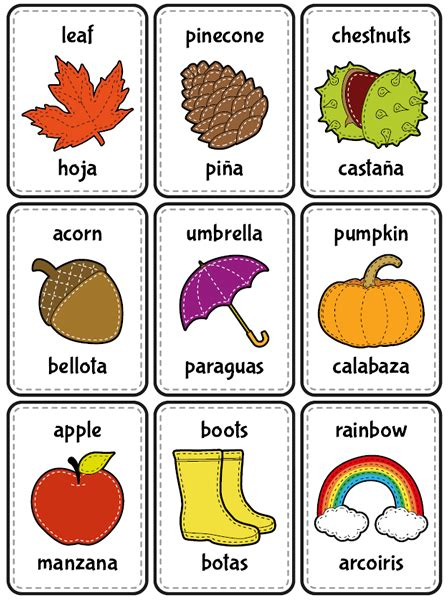 spanish english flashcards printable flash cards autumn in english and spanish