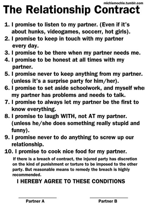 Agreement Letter For Boyfriend The Relationship Contract Images Frompo