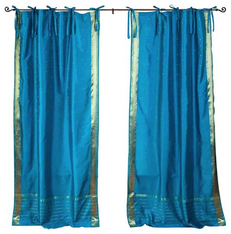 sheer tie top curtains indian selections turquoise tie top sheer sari curtain