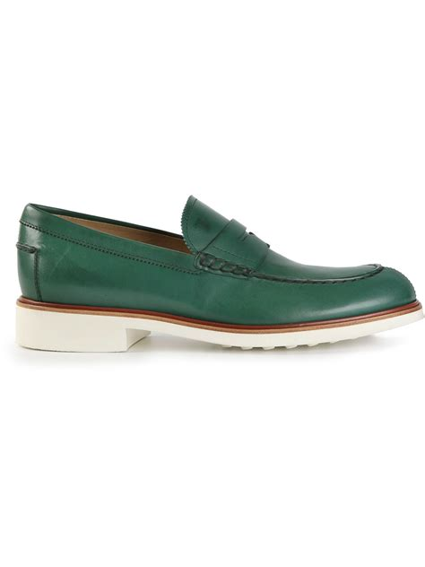 green mens loafers tod s classic loafer in green for lyst