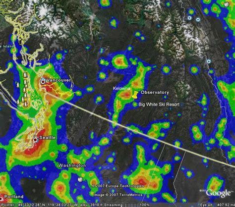 light pollution map washington okanagan observatory