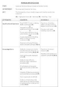 Spec Letter Template Person Specification Example