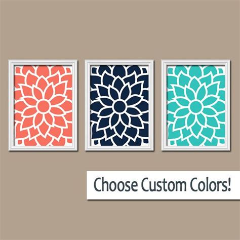 coral and turquoise bathroom coral navy turquoise flower wall art artwork bedroom