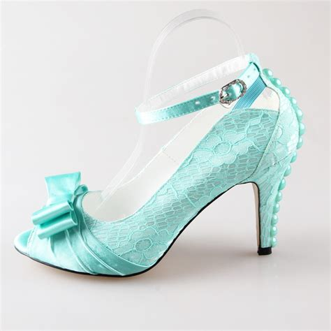 Heels Sandal Mint Pink handmade light mint green lace satin bow heel wedding prom pumps with pearls on the heel