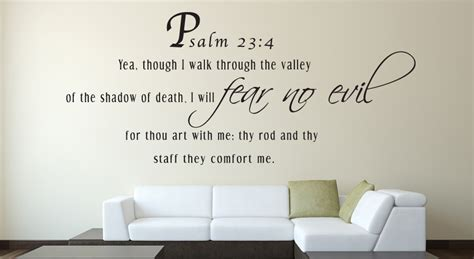 wall stickers bible verses psalm 23 4 yea though bible verse wall decal quotes