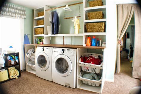 Remodelaholic Built In Laundry Unit With Shelving Diy Laundry