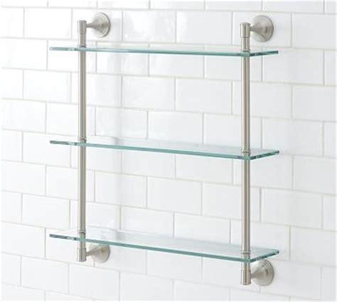 triple glass shelf bathroom mercer triple glass shelf satin nickel finish traditional display and wall