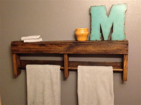 reclaimed wood towel rack and shelf