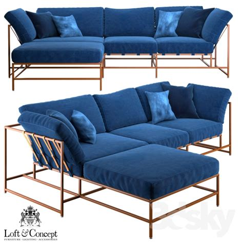 denim sectional sofa 3d models sofa corner sofa indigo denim and copper