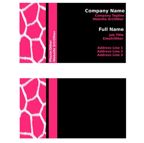pink business cards templates free pink and black giraffe business card templates by stacyo