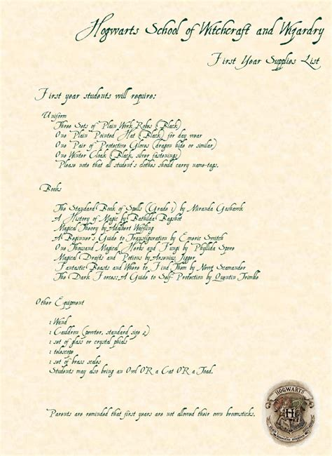 Hogwarts Acceptance Letter Supply List Hogwarts Supplies List By Rebeccabrenna On Deviantart