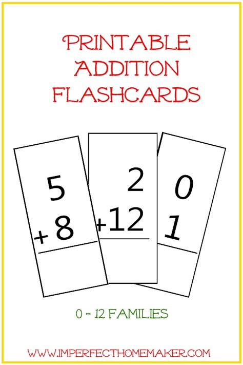 Printable Math Flash Card Template by Free Printable Addition Flashcards Imperfect Homemaker