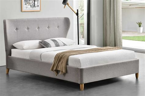 With Bed kensington fabric winged scandi bed frame king