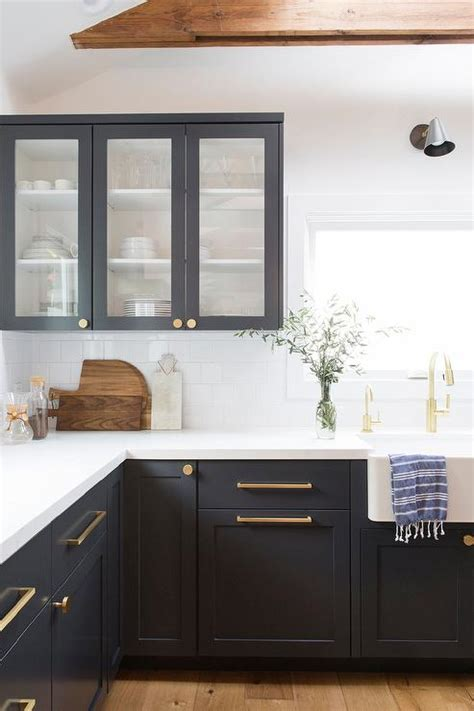 Black Shaker Cabinets With Brushed Gold Pulls And Knobs Black Knobs For Kitchen Cabinets
