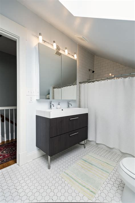 small double sink vanity Bathroom Transitional with billy