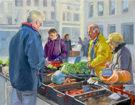 sell paint farmer s market selling vegetables oil painting figures