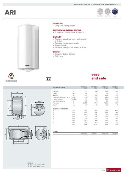 Ariston Water Heater Pro R 150 V Garansi Resmi harga ariston water heater 081297027100